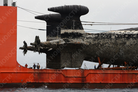 <p>The Transshelf semi-submersible open dock vessel has delivered two decommissioned Victor III class nuclear submarines from a Russian Pacific Fleet base in Kamchatka to the Zvezda shipyard in the town of Bolshoi Kamen in Russia's Far East for scrapping.<br /><br /></p>