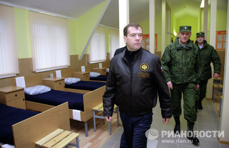 Russian President Dmitry Medvedev inspected the facilities at the Sniper Refresher Training and Advanced Training Center outside Solnechnogorsk.