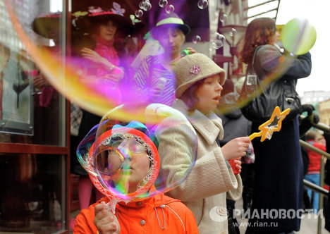 Dream Flash, a soap bubble flashmob, held on April 10 on Old Arbat Street, Moscow.
