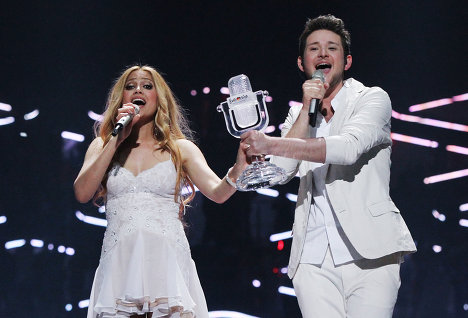 "Ell & Nikki from Azerbaijan won first place at this year's Eurovision Song Contest in Germany with a total of 221 points for their song ""Running Scared."" Italy's Raphael Gualazzi took second place with 189 points and Sweden's Eric Saade finished third with 185. Russia's Alexei Vorobyov came 16th."