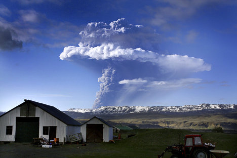 Grimsvotn Volcano near the uninhabited Vatnajokull Glacier in southeastern Iceland erupted on May 21. Iceland's Morgunbladid paper says the current eruption is far more powerful than the previous one in 2004.