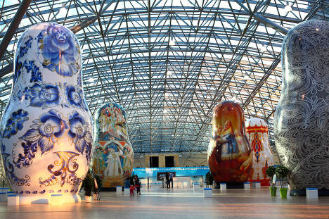 On May 24, a rare Matryoshka doll display will open in Moscow's AFIMALL City shopping center. Each of the six- to 13-meter-tall installations, which were displayed during the 2010 Russian National Exhibition in Paris, is shaped like a Matryoshka, the famous nesting doll that has come to symbolize Russian culture.