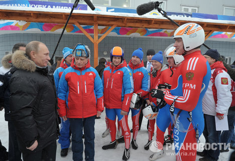 On Thursday, Putin paid a visit to the longest bobsled track in Russia at the Paramonovo Training Center.