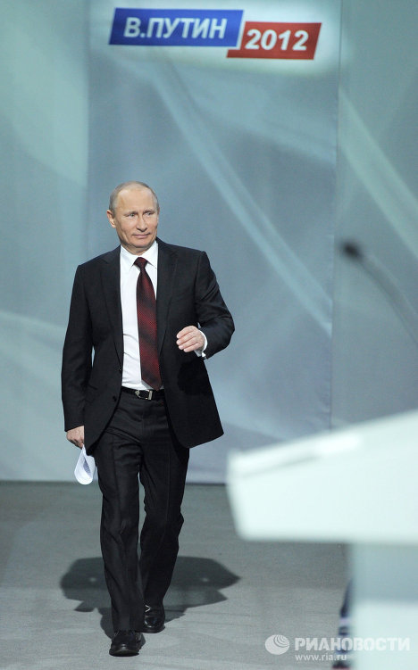 Prime Minister Vladimir Putin took a day off and met with representatives of the All-Russia People's Front, members of his regional campaign headquarters, political scientists and regional journalists as part of his campaign for presidency. The premier spoke on a wide range of issues - from registration for foreigners to re-arming the armed forces.