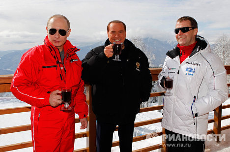 On March 9, President Dmitry Medvedev, Prime Minister Vladimir Putin, and former Prime Minister of Italy Silvio Berlusconi attended test runs at the bobsleigh track at the 2014 Winter Olympics site in Sochi.