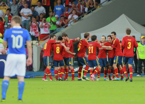 Spain beat Italy 4-0 in the Euro 2012 final on Sunday, securing the Spaniards' place in history as the first country to win three successive major finals.