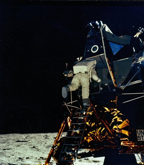"On July 20, 1969, the Apollo 11 Lunar Module Eagle with Astronauts Neil Armstrong and Edwin ""Buzz"" Aldrin onboard landed in the vicinity of Mare Tranquillitatis (Sea of Tranquility), which is located in the moon's southwestern sector. Neil Armstrong's photo shows Edwin ""Buzz"" Aldrin climbing out of the lunar module."