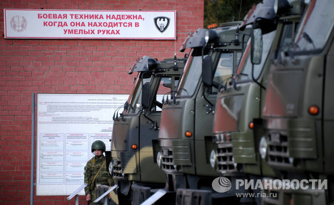 KAMAZ trucks were displayed at a training center for a rapid deployment brigade of the Russian Interior Ministry's Interior Forces. The training center is located in the Moscow Region's Pushkino District.