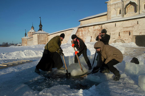 Epiphany, also known as Theophany, is celebrated in Russia on January 19. On this day, believers dive into holes cut in ice over rivers and lakes. The bathing sites are blessed by Orthodox priests.