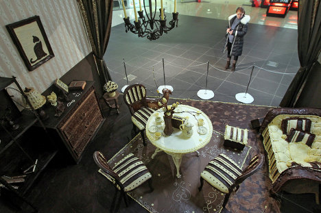 An all-chocolate room was unveiled on March 8 at the ALL shopping mall in Minsk, Belarus.