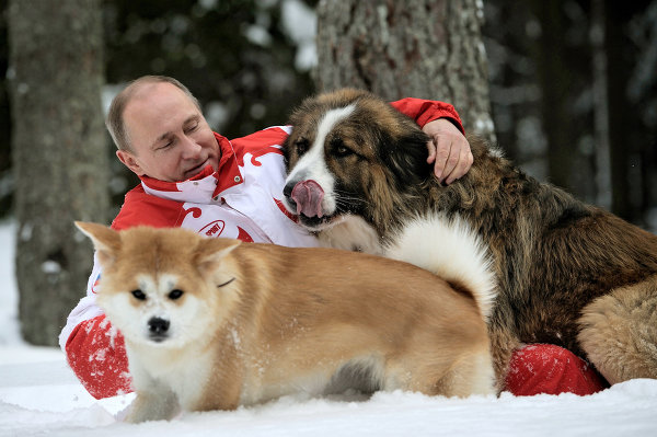 Vladimir Putin found time to spend with his pets in March.