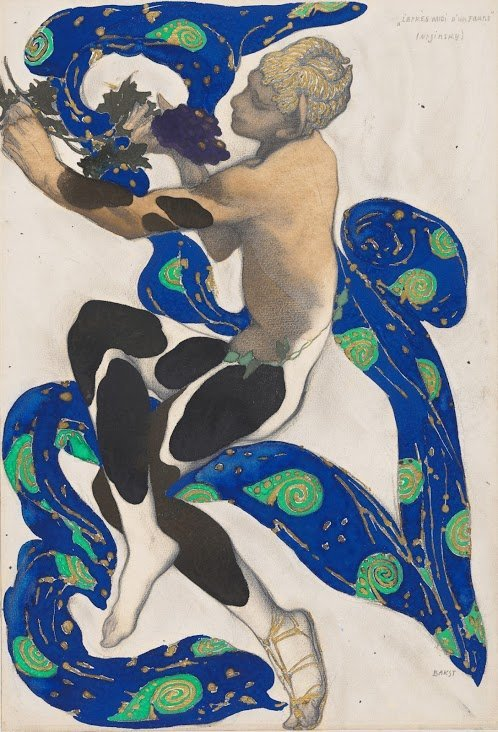 "A costume designed by Léon Bakst for the Ballets Russes' ""Nymph from Narcissus"" in 1911."
