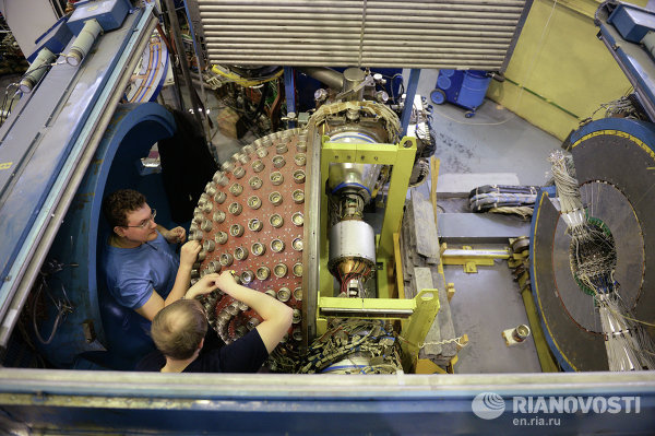 The new collider, which will become the most intensive source of elementary particles, has been named the Super C-Tau Factory. Photo: Spherical detector of VEPP-2000 collider