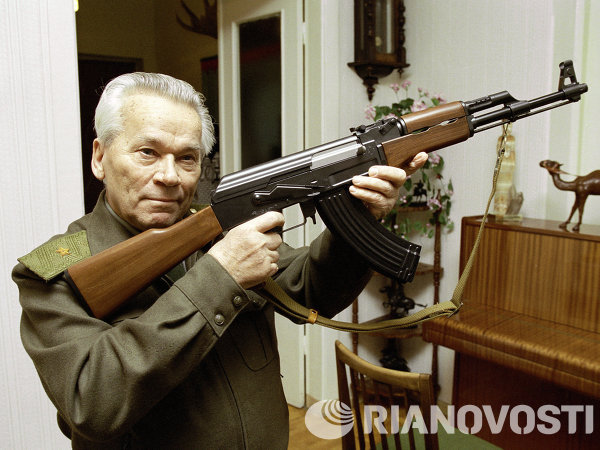 The Kalashnikov is probably the most famous Russian-made weapon, a weapon that all fighters love. Soviet military engineer Mikhail Kalashnikov designed his signature automatic rifle in 1947, hence the name Avtomat Kalashnikova, or AK-47. Its successor rifles, of which there are an estimated 90 million various modifications including the AK-74 and AKM, are used in more than 100 countries.   <br /><br />Above: Mikhail Kalashnikov posing with his signature rifle.
