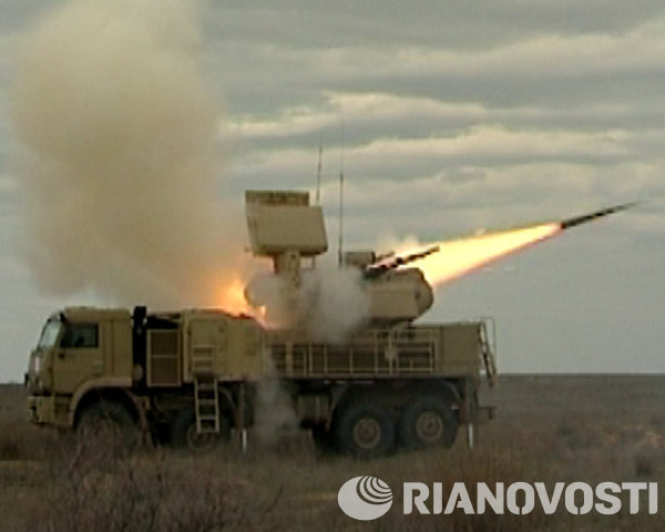 The Pantsir-S1 is a short to medium range surface-to-air missile and anti-aircraft artillery system which was designed in 1994 in Tula, Russia. Although the Pantsir-S1's combat range is only 20 km, it can fire missiles to an altitude of 15 km and target all types of aircraft, helicopters, drones, cruise missiles, and air-to-ground precision-guided weapons.<br /><br />Above: Pantsir-S1 in action during military drills near Astrakhan, Russia.