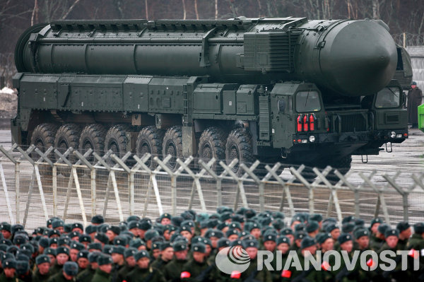 The Topol-M is a terrifying intercontinental ballistic missile, weighing 47 tons and reaching 22 meters in length, which can hit targets with a nuclear warhead within a range of 11,000 km. According to Russia, this ICBM is designed to be immune to any current or planned US missile defense system.<br /><br />Above: The Topol-M intercontinental ballistic missile before the Victory Day military parade on May 9, 2014.